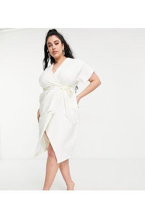 Closet Kimono wrap midi dress in ivory