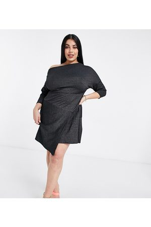Closet Off shoulder cropped sleeve wrap mini dress in