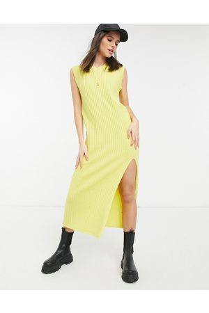 Lost Ink Sleeveless maxi knitted dress in rib