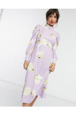 Closet High neck midi dress in lilac polka dot oversized floral