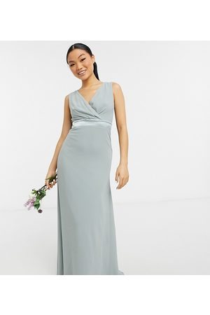 TFNC Petite Bridesmaid plunge front bow back maxi dress in sage