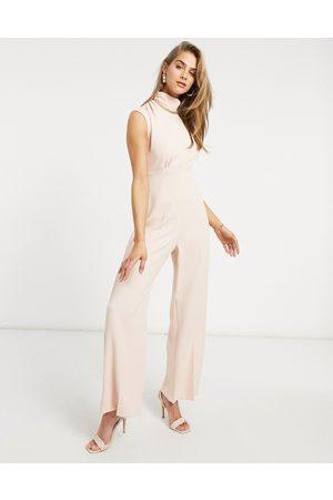 Closet High neck cap sleeve jumpsuit in blush
