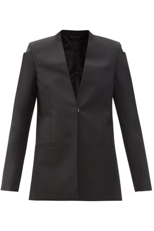 Givenchy Collarless Wool-blend Grain De Poudre Suit Jacket - Womens