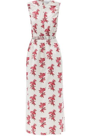Raey Elasticated Cut-out Floral-print Cotton Dress - Womens - Print