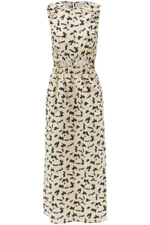 Raey Women Printed Dresses - Elasticated Cut-out Abstract-print Cotton Dress - Womens - Print