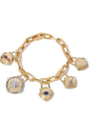ANNOUSHKA 18kt yellow Lovelock diamond and sapphire charm bracelet