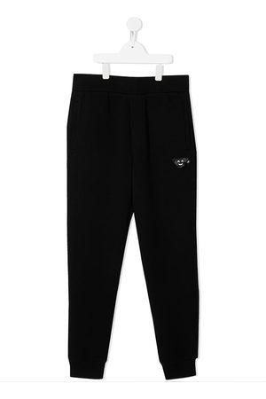 Emporio Armani Sports Trousers - TEEN embroidered tracksuit bottoms