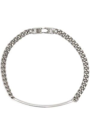 Saint Laurent Logo plaque chain-link bracelet - Metallic