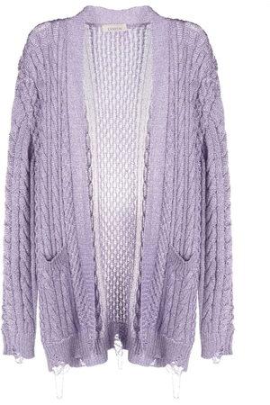 LANEUS Metallic aran-knit cardigan