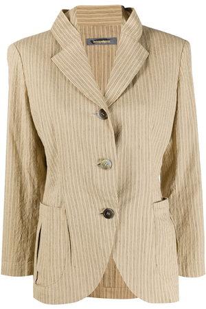 Issey Miyake 1980s pinstripe print jacket - Neutrals