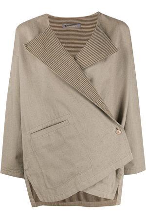 Issey Miyake Women Jackets - 1980s asymmetric jacket - Neutrals