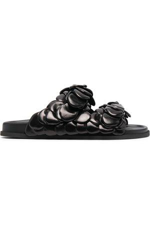 VALENTINO GARAVANI Floral-embellished leather slides