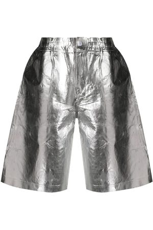 Comme des Garçons Men Bermudas - Crinkle-finished metallic shorts