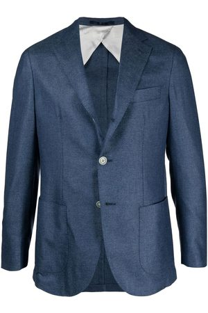BARBA Men Blazers - Single-breasted denim blazer