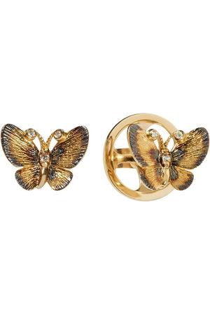 ANNOUSHKA 18kt yellow butterfly diamond stud earrings
