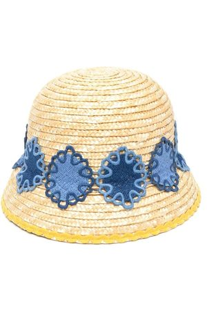 Mimisol Embroidered straw sun hat - Neutrals