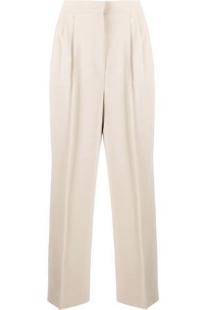 12 STOREEZ High-waisted press crease trousers - Neutrals