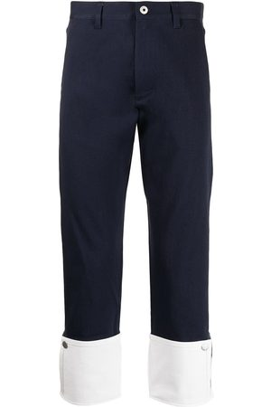 Ports V Trousers - Turn-up contrast hem chino trousers