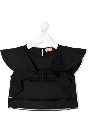 Elisabetta Franchi La Mia Bambina Ruffled cotton-blend crop-top