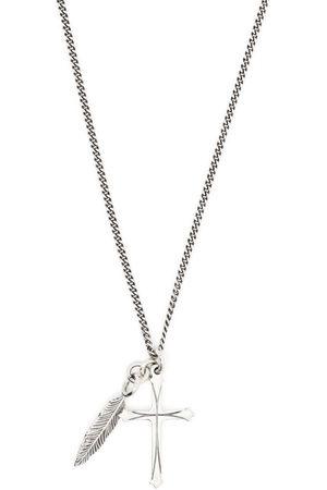 EMANUELE BICOCCHI Cross + feather necklace
