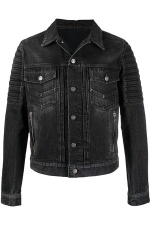 Balmain Distressed ribbed denim jacket
