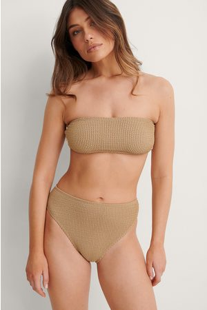 NA-KD Smocked High Waist Bikini Panty - Beige