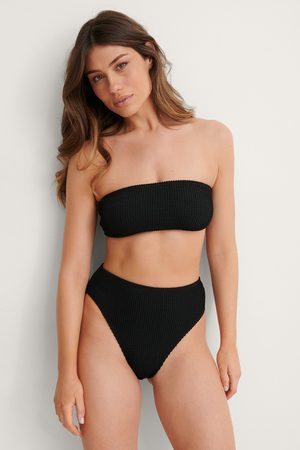 NA-KD Smocked High Waist Bikini Panty - Black