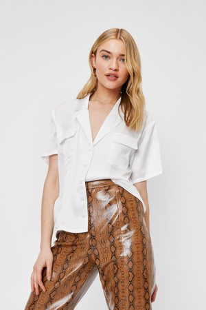 NASTY GAL Womens Satin Oversized Short Sleeve Shirt - - 4