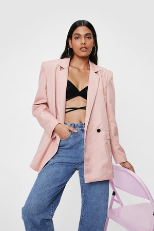 NASTY GAL Womens Shoulder Padded Boxy Double Breasted Blazer - - 4