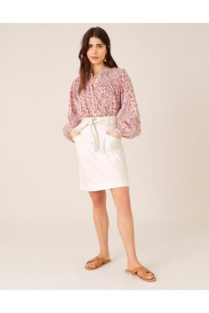 Monsoon Belted Denim Skirt in Organic Cotton Natural