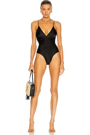 Adriana Degreas Solid Halterneck Frilled Swimsuit in