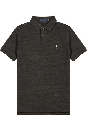 Polo Ralph Lauren Men Polo Shirts - Charcoal Custom Slim Piqué Cotton Polo Shirt