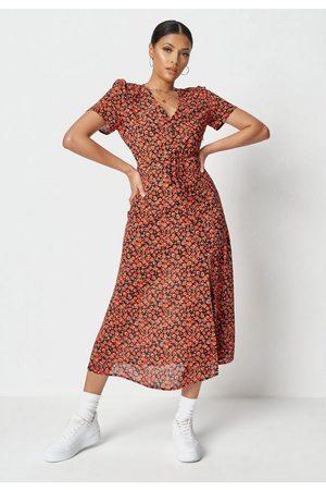 Missguided Floral Print Half Button Midi Tea Dress