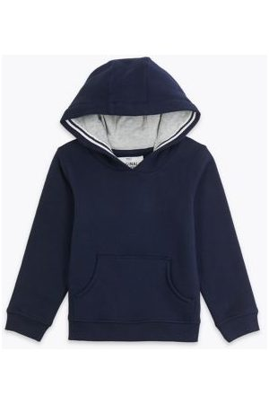 Marks & Spencer Boys Cotton Pullover Hoodies (2-7 Yrs) - 6-7 Y - Navy, Navy, ,Cobalt,Charcoal