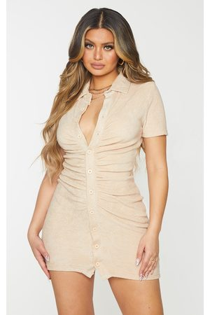 PRETTYLITTLETHING Women Bodycon Dresses - Stone Ruched Button Down Collar Detail Towelling Bodycon Dress