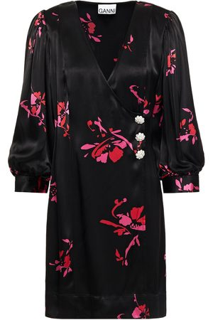 Ganni Women Printed Dresses - Woman Crystal-embellished Floral-print Satin-crepe Mini Wrap Dress Size 32