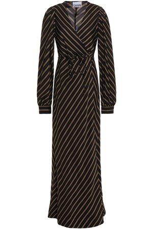 Ganni Women Maxi Dresses - Woman Gathered Pinstriped Twill Maxi Wrap Dress Size 32