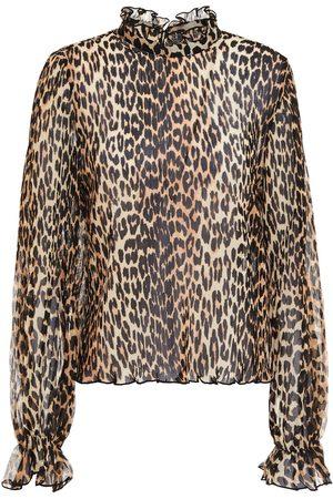Ganni Woman Ruffled Leaopard-print Plissé-chiffon Blouse Animal Print Size 32