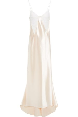 Serafini Women Evening Dresses - Woman Chantilly Lace-trimmed Satin-crepe Gown Blush Size 38