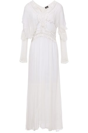 Roberto Cavalli Women Casual Dresses - Woman Ruffle-trimmed Bead-embellished Embroidered Crepon Midi Dress Off- Size 38