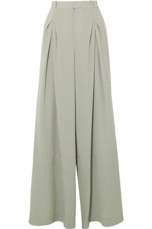 Roland Mouret Women Formal Trousers - Woman Valens Pleated Wool-crepe Pants Sage Size 12