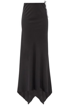 ANN DEMEULEMEESTER Asymmetric Wool-blend Twill Maxi Skirt - Womens