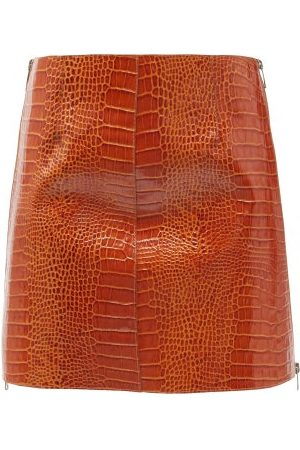 Givenchy Crocodile-effect Leather Mini Skirt - Womens