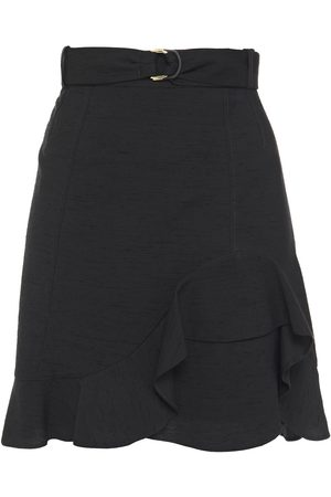 Sandro Woman Belted Ruffled Slub Woven Mini Skirt Size 0