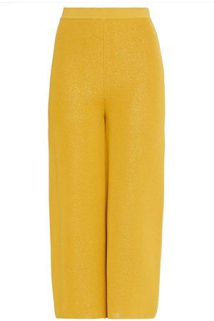 GENTRYPORTOFINO Woman Cropped Metallic Knitted Wide-leg Pants Size 38