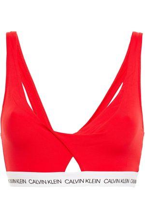 Calvin Klein Woman Cutout Printed Twist-front Bikini Top Size L