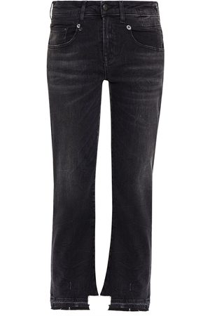 R13 Woman Boy Distressed Mid-rise Straight-leg Jeans Charcoal Size 25