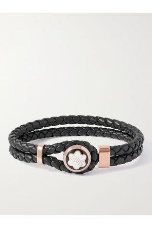 Mont Blanc Men Bracelets - Woven Leather, Gold-Tone and Enamel Bracelet