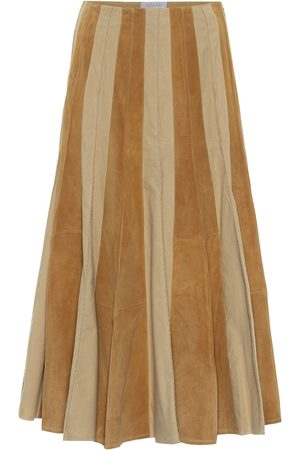 GABRIELA HEARST Ernst suede and cotton midi skirt