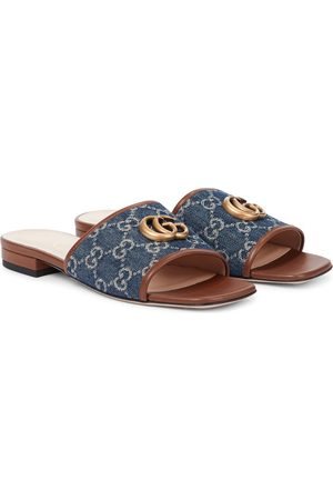 Gucci Double G jacquard denim slides